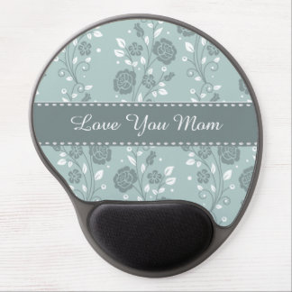 Happy Mother's Day Blue Floral Design Gel Mouse Pad