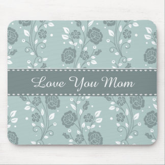 Happy Mother's Day Blue Floral Design Mouse Pad