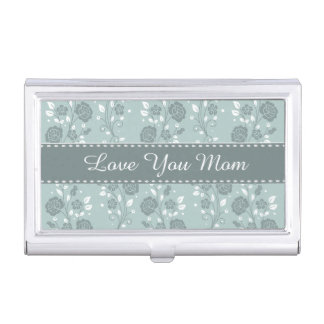 Happy Mother's Day Blue Floral Design Business Card Holders