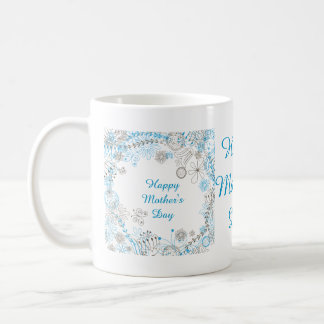 Happy Mother's Day Blue Flowers Classic White Coffee Mug