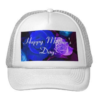 Happy Mother's Day Blue Purple Roses Trucker Hat