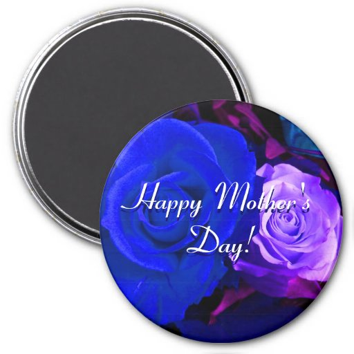 Happy Mother's Day Blue Purple Roses Magnets