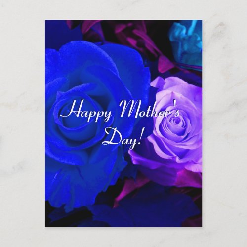 Happy Mother's Day Blue Purple Roses postcard