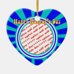 Happy Mother's Day - Blue Retro Photo Frame Christmas Tree Ornaments