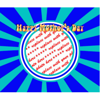 Happy Mother's Day - Blue Retro Photo Frame Standing Photo Sculpture