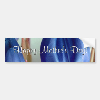 Happy Mother's Day Blue Tulips Car Bumper Sticker