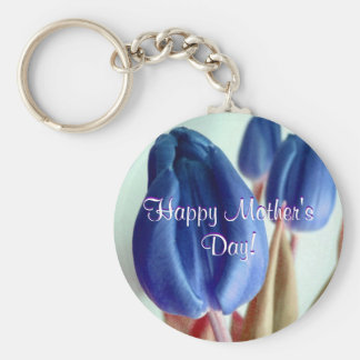 Happy Mother's Day Blue Tulips Keychain