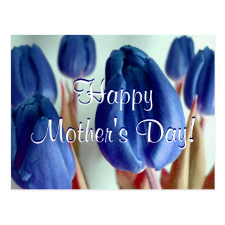 Happy Mother's Day Blue Tulips Postcard