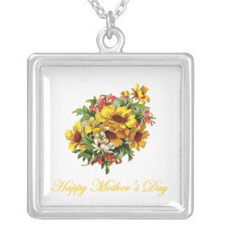 Happy Mother's Day (bouquet) Silver Plated Necklace