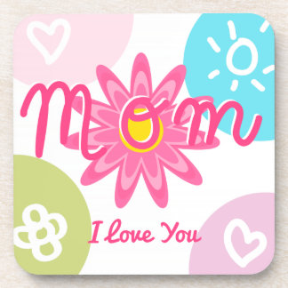 Happy Mother's day  Bright Colorful design Drink Coasters