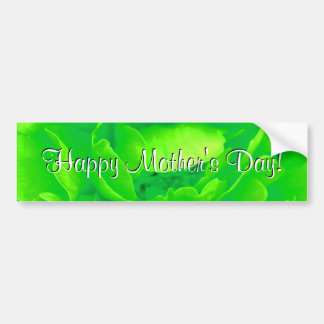 Happy Mother's Day Bright Green Rose Car Bumper Sticker