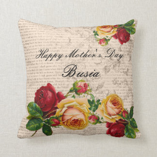 Happy Mother's Day Busia Pillow Vintage Roses