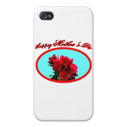 Happy Mother's Day Camellia bg Cyan The MUSEUM Zaz Case For iPhone 4