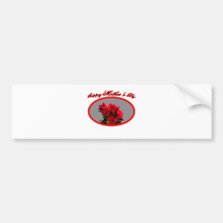 Happy Mother's Day Camellia bg Silver The MUSEUM Z Car Bumper Sticker