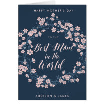 Happy Mothers Day Card Best Mom Pink Wreath