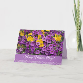 Happy Mother's Day Card with purple flowers