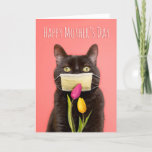Happy Mother's Day Cat in Face Mask With Flowers Holiday Card