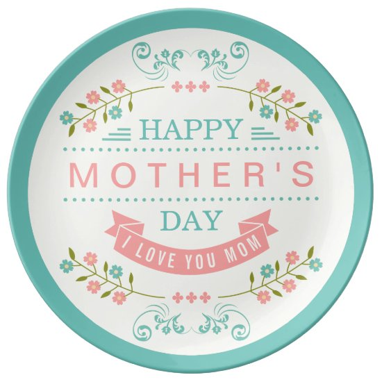 Happy Mother's Day - Chic Teal Cream Pink Floral Plate