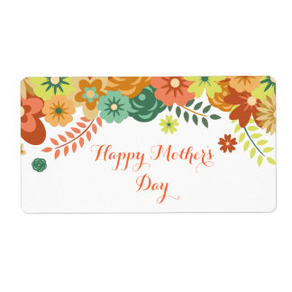 Happy Mother's Day Colorful Floral Design Label
