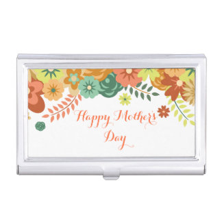 Happy Mother's Day Colorful Floral Design Business Card Cases