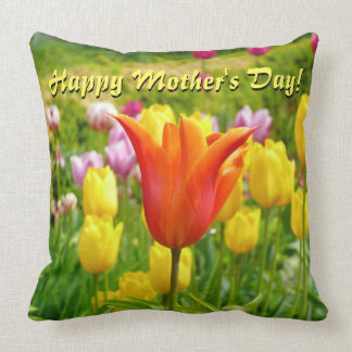 Happy Mother's Day! Colorful Tulips Throw Pillow