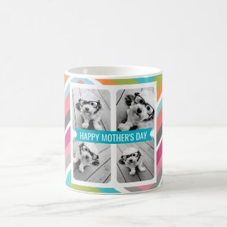 Happy Mother's Day Custom 4 Photo Collage Chevrons Coffee Mug