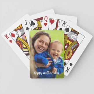 Happy Mother's Day Custom Photo White Script Playing Cards