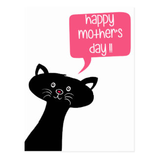 Happy Mother's Day - Cute Black Cat Postcard