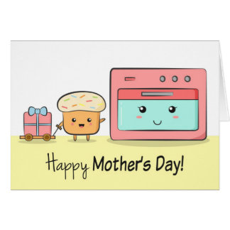 Happy Mother's Day - Cute Cupcake and Pink Oven Card