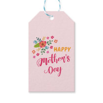 """""""Happy Mother's Day"""" Cute Floral Pink Illustration Gift Tags"""