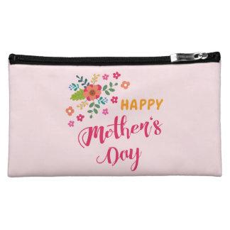 """Happy Mother's Day"" Cute Floral Pink Illustration Makeup Bag"