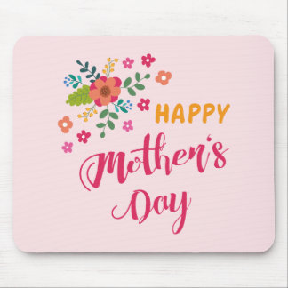"""Happy Mother's Day"" Cute Floral Pink Illustration Mouse Pad"