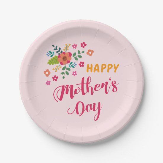 """Happy Mother's Day"" Cute Floral Pink Illustration Paper Plate"