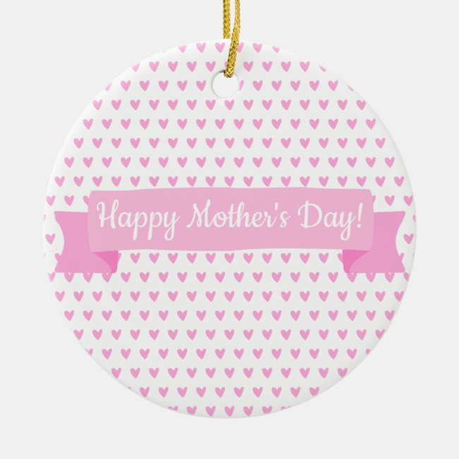 Happy Mother's Day   Cute Pink Hearts Pattern