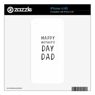 HAPPY MOTHER'S DAY DAD T-SHIRT TEE SKIN FOR iPhone 4