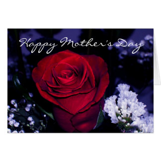 Happy Mother's Day-Deep Red Rose Card