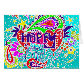 HAPPY Mother's Day   Doodle Card Blue