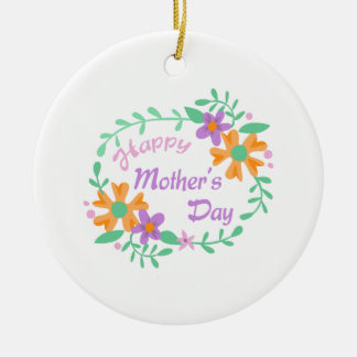 HAPPY MOTHERS DAY Double-Sided CERAMIC ROUND CHRISTMAS ORNAMENT