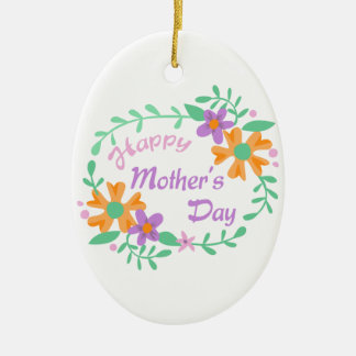 HAPPY MOTHERS DAY Double-Sided OVAL CERAMIC CHRISTMAS ORNAMENT