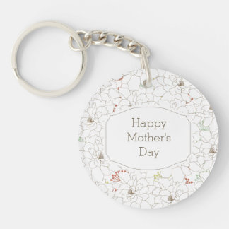Happy Mother's Day Elegant Flowers Keychain