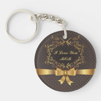 Happy Mother's Day Elegant Golden Design Double-Sided Round Acrylic Keychain