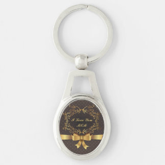 Happy Mother's Day Elegant Golden Design Silver-Colored Oval Metal Keychain