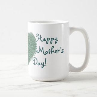 Happy mothers day feather heart for moms coffee mug