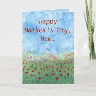 Happy Mothers Day Field of Red Poppies Cards