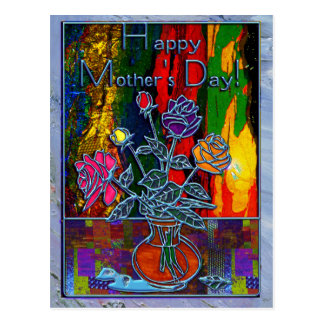 Happy Mothers Day Floral Abstract Postcards