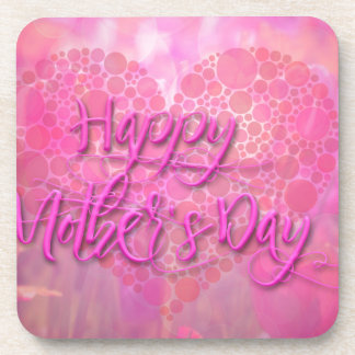 Happy Mothers Day Floral Background Beverage Coaster