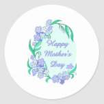 Happy Mother's Day Floral Border - Customize Classic Round Sticker