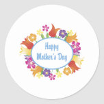 Happy Mother's Day Floral Border Gifts and Tees Classic Round Sticker