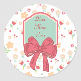Happy Mother's Day Floral Design Classic Round Sticker