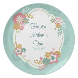 Happy Mother's Day Floral Frame Melamine Plate